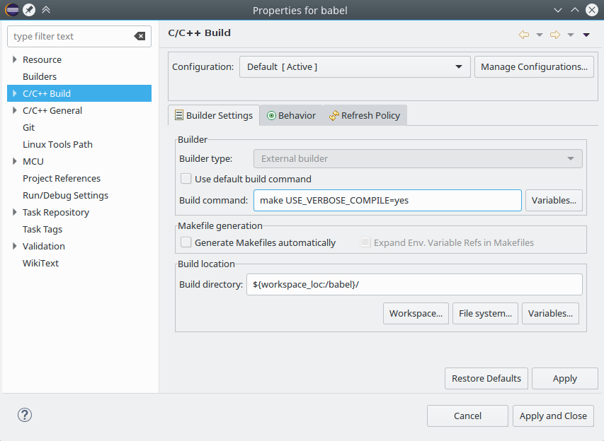 Configuring an Eclipse workspace for embedded development